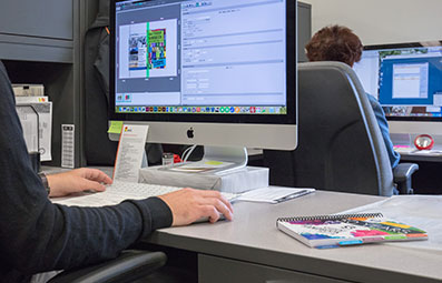 Prepress work on a computer