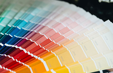 Prepress colour swatches fanned out